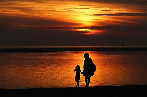 Mother, Daughter, Together, Walking, Family, Vaction