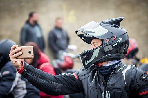 Selfie, Bike, Helmet, Phone, Outdoors, Happy, Lifestyle