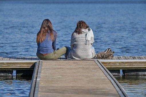 Friends, Women, Sit, Girl, Friendship, Affection