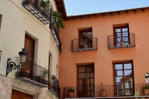 Architecture, House, Balcony, Window, Street, Housing