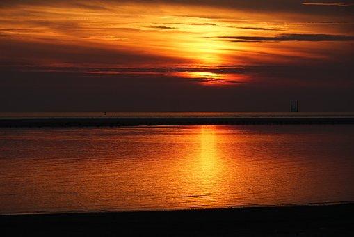 Sunset Borkum, Dusk, Sandbar, Sun, Waters, Holiday
