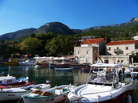 Port, Sea, Coast, Waters, City, Croatia, Dalmatia, Brac