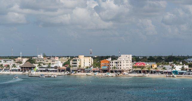 Cozumel, Coast, Water, Sea, Panoramic, City, Travel