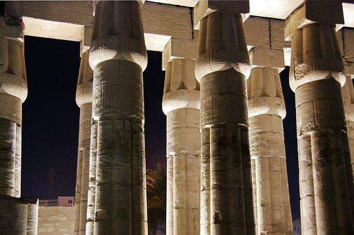 Egypt, Luxor, Temple, Colonnade, By Night