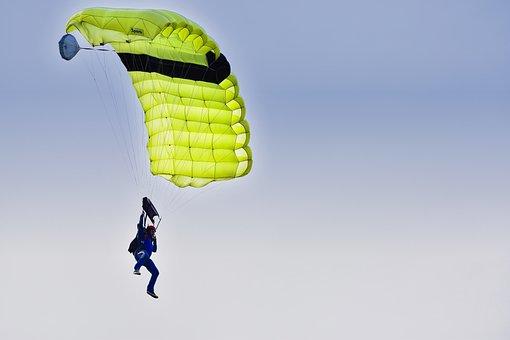 Skydiving, Parachute, Parachutist, Fly, Sky, Float