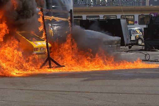 Flame, Smoke, Heat, Calamity, Vehicle, Cascade, Car