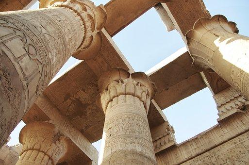 Egypt, Karnak, Temple, Columns, Roofing, Hieroglyphs