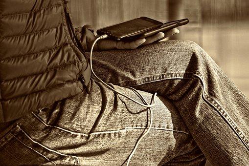 Man, Leg, Hand, Sitting, Smartphone, Wire