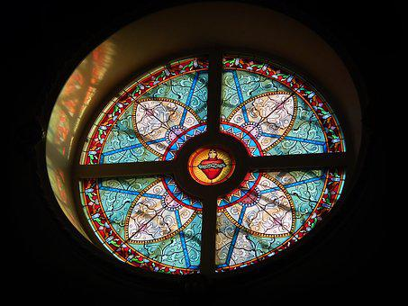 Stained Glass, Religion, Glass Items, Light, Round
