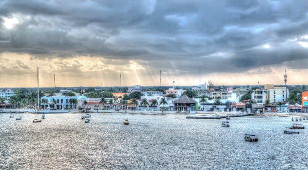 Cozumel, Coast, Storm, Hurricane Clouds, Sun Rays