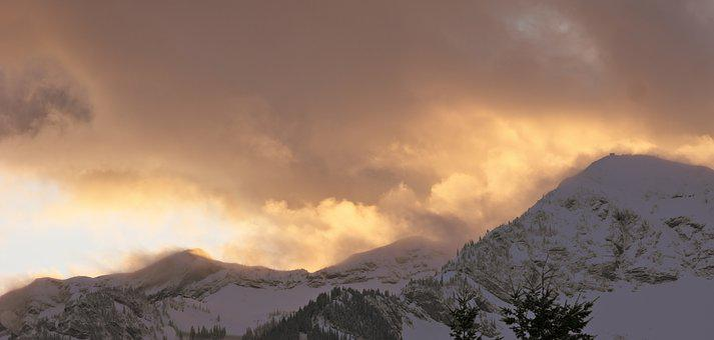 Panoramic, No Person, Landscape, Snow, Sunset, Cloud