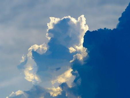 Cloud, Teddy Bear, White, Bear, Teddy, Giant, Sky, Blue