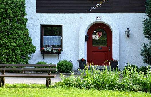 Entrance Door, Farmhouse, Apartment, Allgäu, Bench