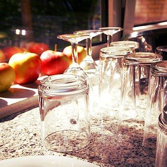 Glass, Sunlight, Countertop, Drying, Apples, Window