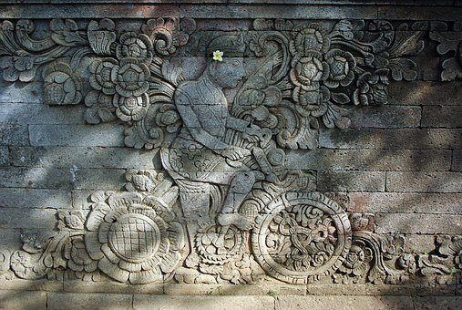 Indonesia, Bali, Temple, Bas-relief, Cyclist