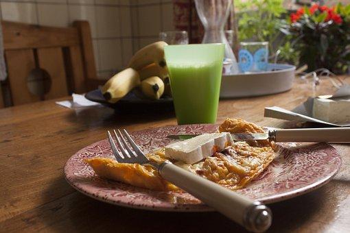 Brunch, Egg, Brie, Milk, Plate, Wooden Table, Bananas