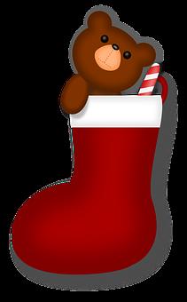 Bear, Candy Cane, Christmas, Holiday, Santa, Stocking