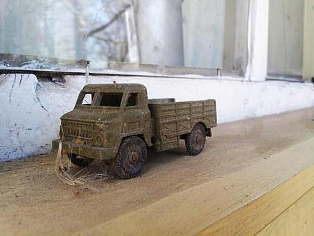 Toy, Machine, Truck, Old, Dust, Tree, Auto, Childhood