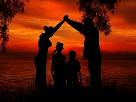 Family, Children, Father, Mother, Beach, Sun, Sunset