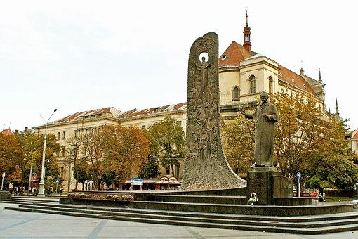 Ukraine, Lviv, Taras Shevchenko, Poet, Monument, Statue