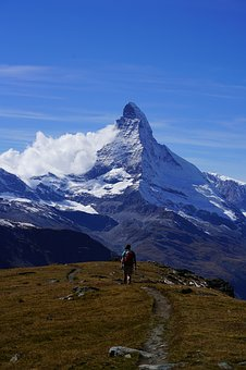 Matterhorn, Mountain, Meadow, Hiking, Zermatt