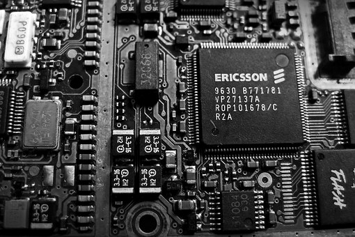 Circuit, Electronics, Cpu, Old, Black And White, White