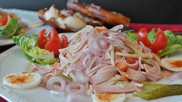 Sausage Salad, Swiss, Sausage, Cheese, Onion, Pickles