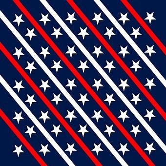 Patriotic, Red, White, Blue, Stars, Diagonal, Strips