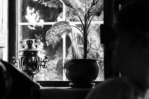 Samovar, Window, Window Sill, Comfort, House, Bw