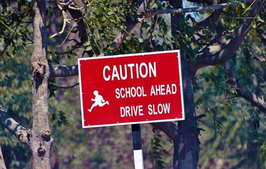 Caution, Sign Board, Warning, School Ahead, Sign, Board