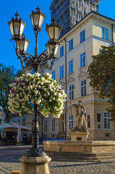 Lviv, Ukraine, Europe, Neptune, Market Square, Sights