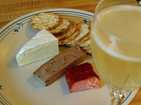 Champagne, Crackers, Pate, Smoked, Salmon, Cheese, Brie