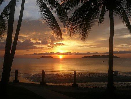 Sunset, Borneo, Water, Beach, Summer, Ocean, Cloud, Sun