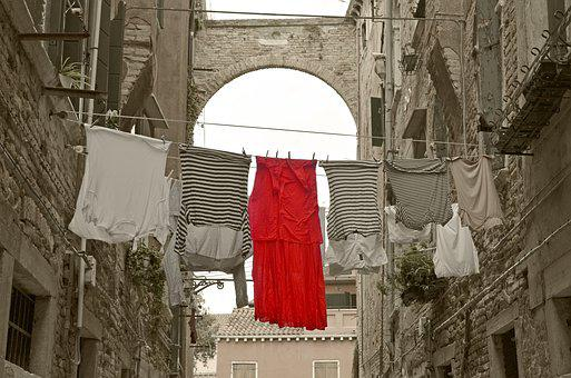 Red Dress, Alley, Venice, Clothes Line, Laundry