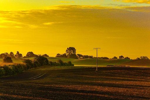Landscape, Village, Arable, Morning, Sunrise