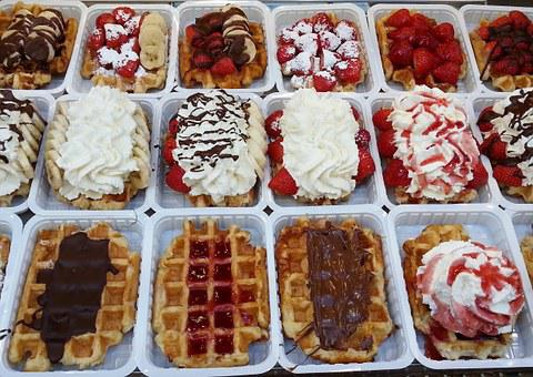 Wafers, Food, Tasty, Waffle, Delicious, Dessert, Sweet