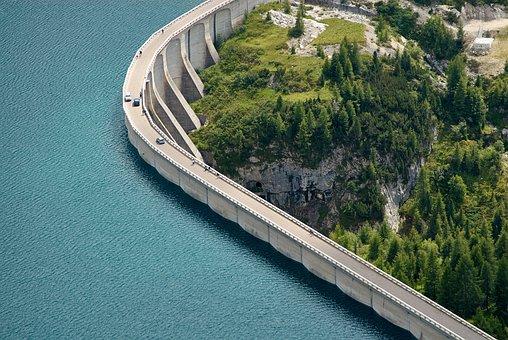 Reservoir, Dam, Water, Fedaiasee, Alpine, Landscape