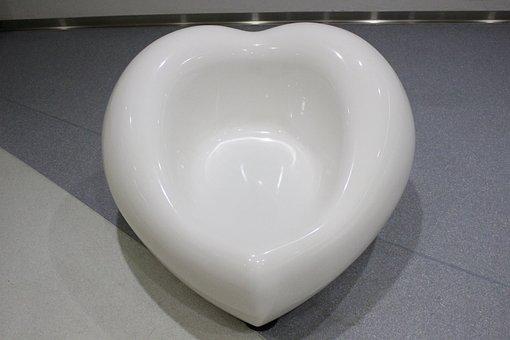 Chair, Heart, White, Cute, Japan, Pure White