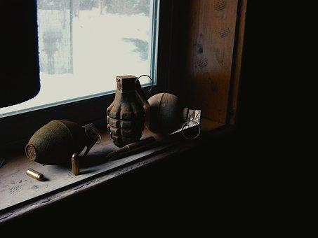 Hand Grenade, Grenade, Bullets, Window Sill, 3d Art