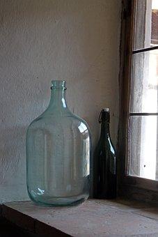 Bottle, Glass Bottle, Large, Window Sill, Wine Bottle