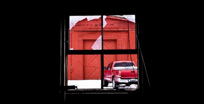 Window, Truck, Red, Barn, Back Road, Broken