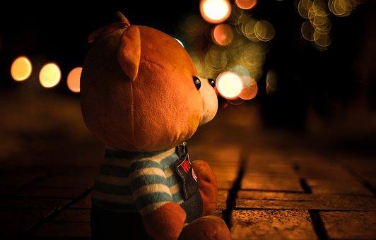 Teddy, Bokeh, Light, Blur, Outdoors