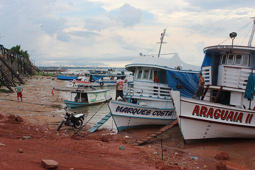 Boats At Shoreline, River, Para, Amazonas, Brazil, Ship