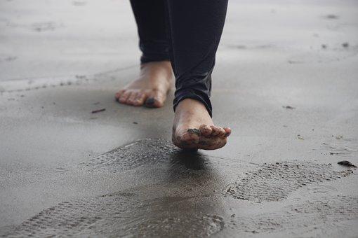 Beach, Sand, Water, Foot, Outdoors, Footprint