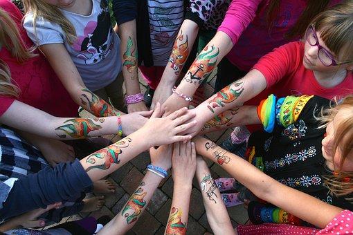 Hands, Girl, Hand, Children, Human, Friendship, Fun