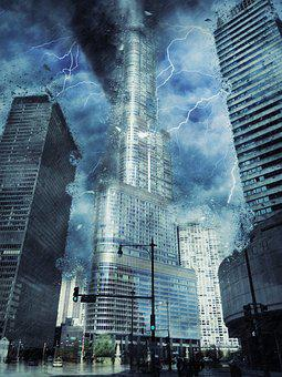 Trump, International, Hotel, Tower, Cityscape, Storm