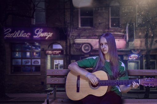 Guitar, Girl, Night, Music, Musical Instrument