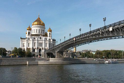 Moscow, Russia, Cathedral, Temple, River, Religion