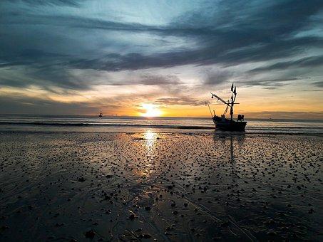 Hua Hin Beach, Sea, Ship, Hua Hin, Sea View, Thailand