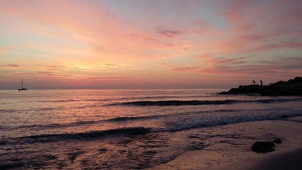 Sunset, Body Of Water, Beach, Sea, Costa, Sun